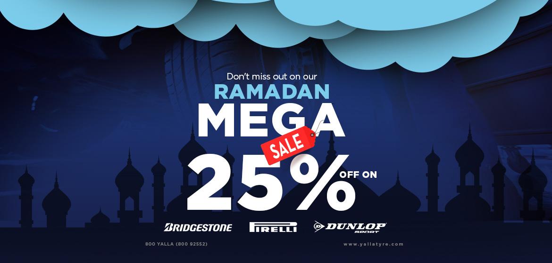 Ramadan Mega Sale 25% off on Selected Tyres